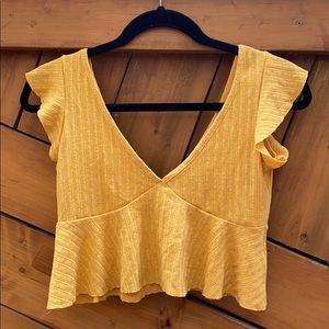 Yellow Crop Top with Flutter Sleeves